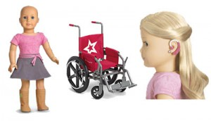 American Girl Doll with no hair, American Girl Doll Wheelchair, American Girl Doll with hearing aid