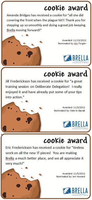 Examples of Cookie Award certificates