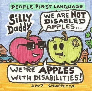 a red and green apple discuss people first language