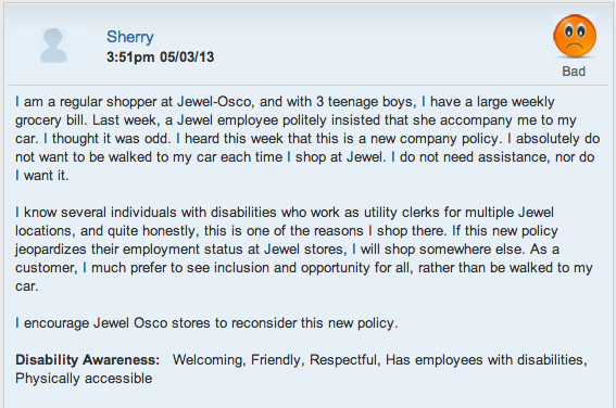 review on Jewel Osco's new cart to car service posted by Sherry - read more at http://www.jjslist.com/pages/bridge_builder_detail/28.php?id=1828&page=0