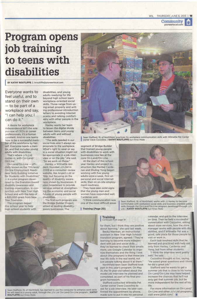 "Wilmette Life Paper Article 060613 ""Program opens job training to teens with disabilities"""