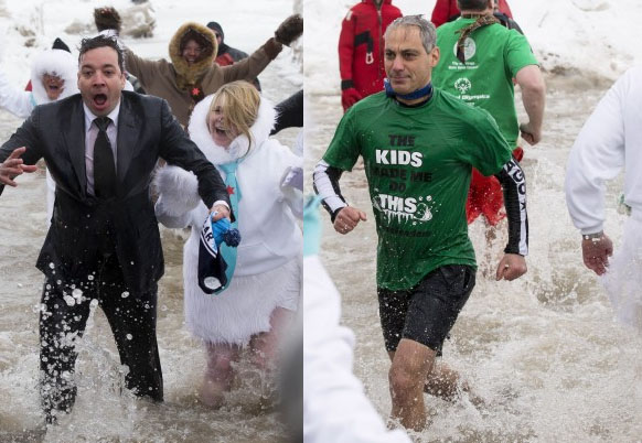 Jimmy Fallon and Mayor Rham Emanuel at Polar Plunge